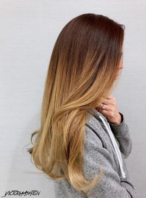 kahverengi saça sarı ombre